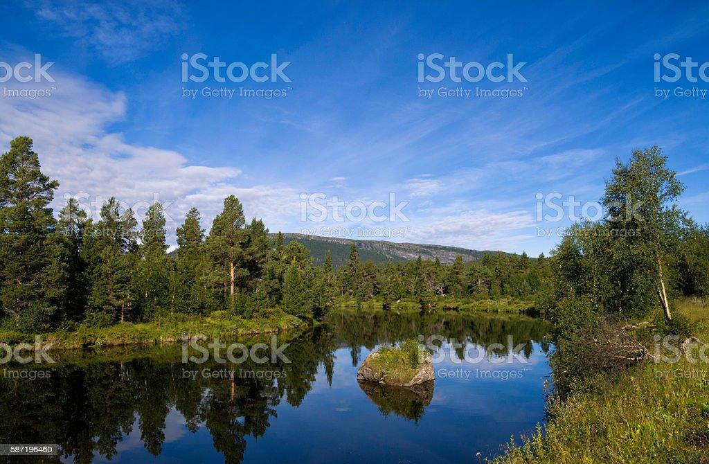 Ljusnan river near Ljusnedal stock photo