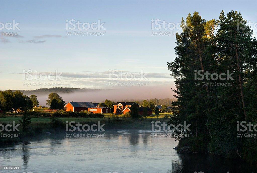 Ljusnedal river near Ljusnan stock photo