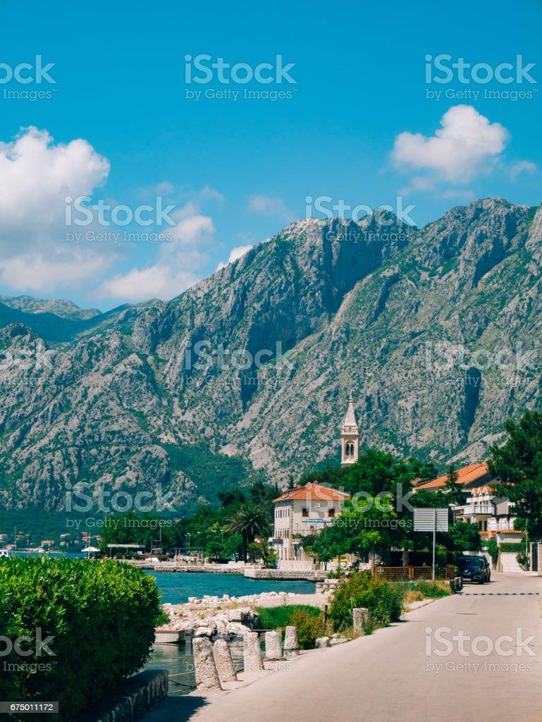 Ljuta village in the Bay of Kotor stock photo