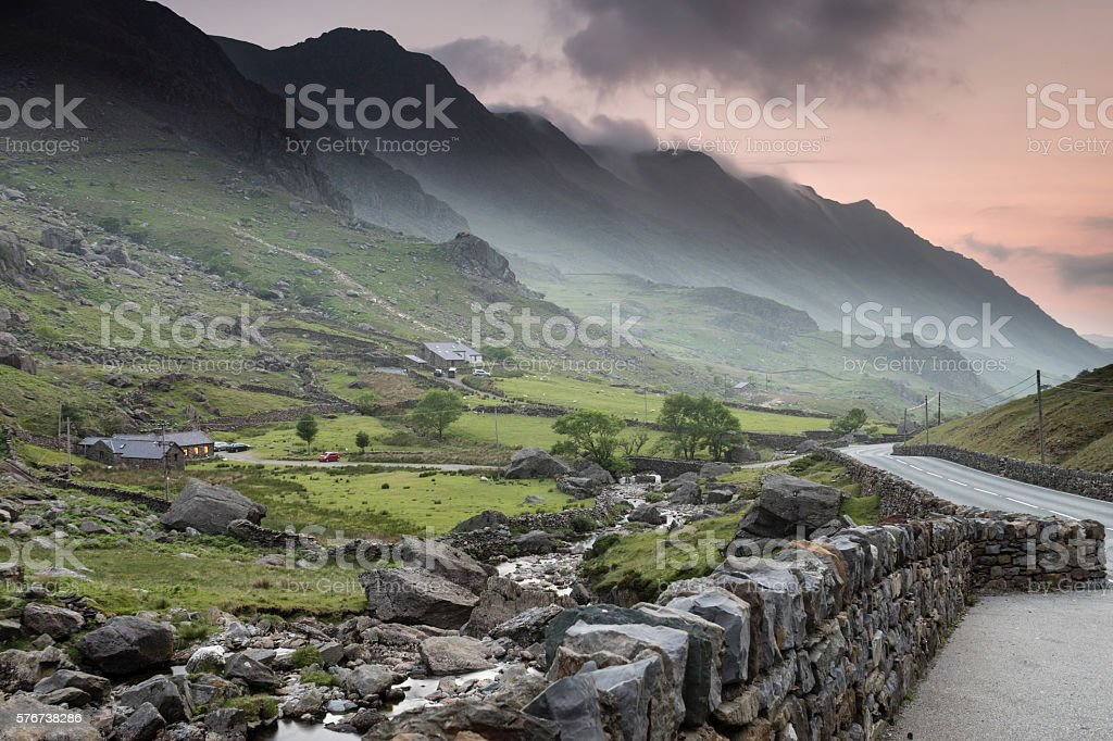 Llanberis Pass soon after sunset stock photo