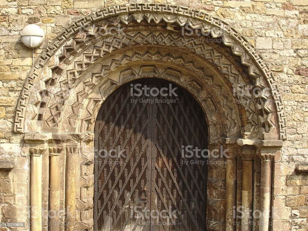 Llandaff Cathedral archway and door stock photo