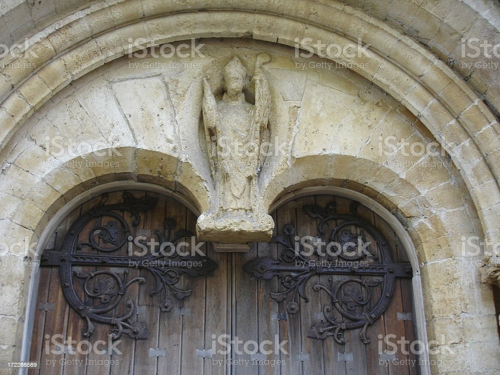 Llandaff Cathedral door and stone architecture stock photo