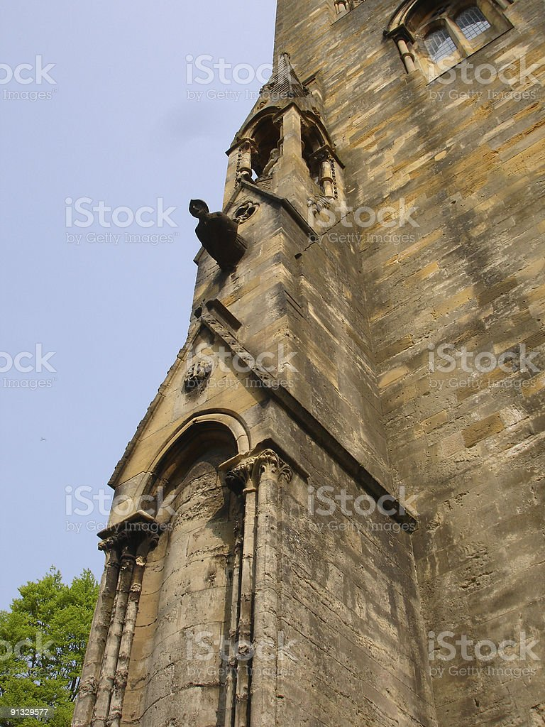 Llandaff Cathedral gargoyles stock photo