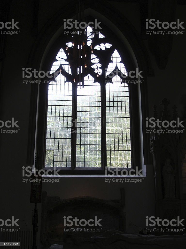 Llandaff Cathedral stained glass window stock photo
