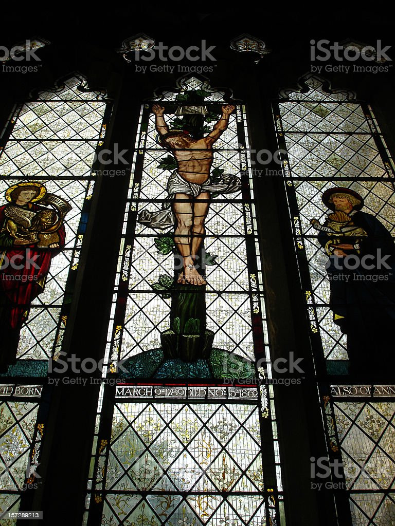 Llandaff Cathedral stained glass windows stock photo