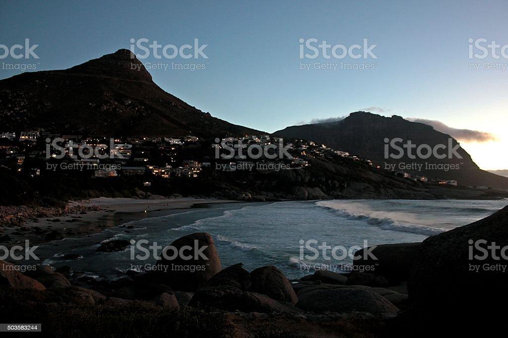 Llandudno beach panoramic at dusk stock photo