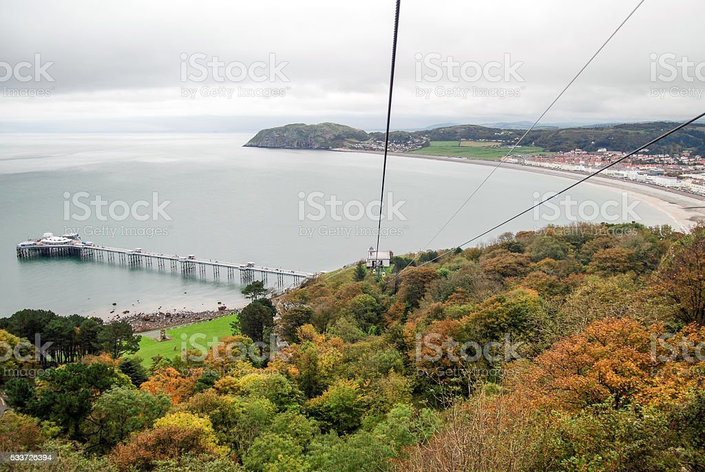 Llandudno coast from above stock photo