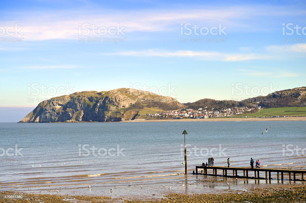Llandudno North shore beach in North Wales stock photo