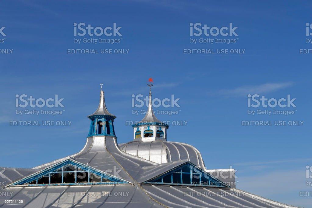 Llandudno pier roof in North Wales stock photo