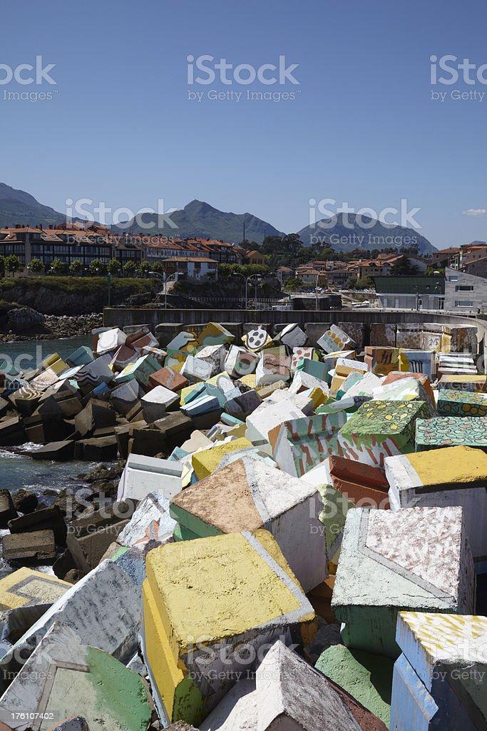 Llanes Harbour ,  Cube, Asturais, Costa Verde, Spain stock photo