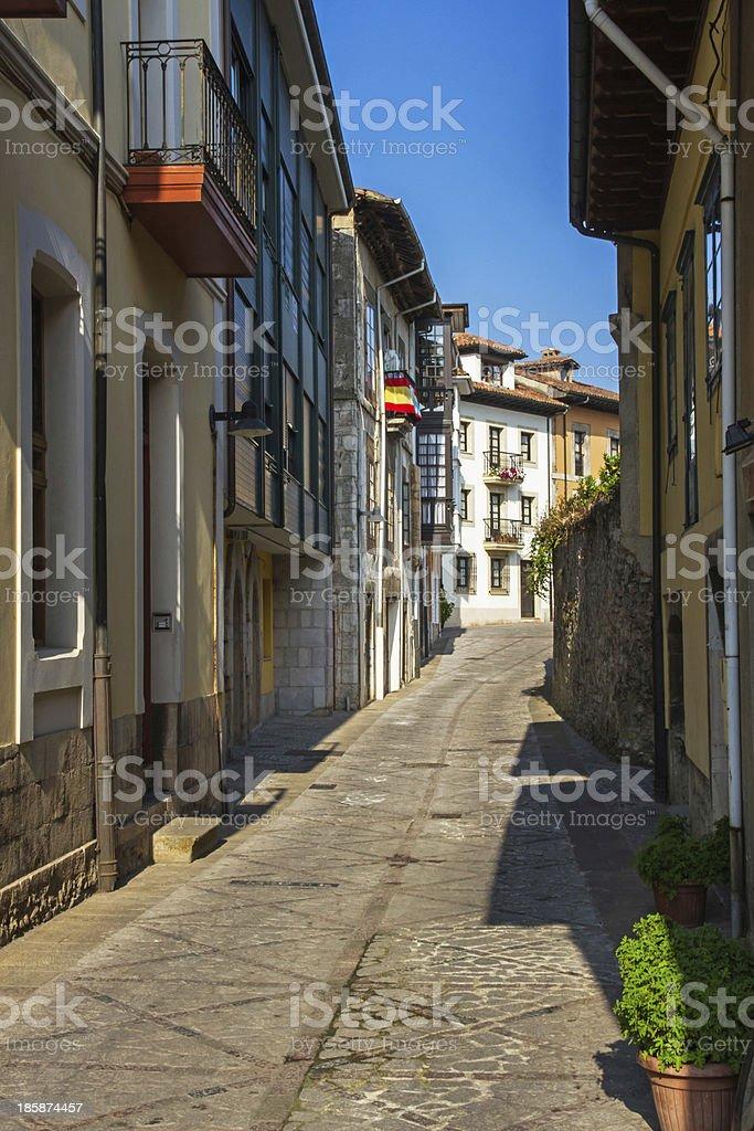 Llanes in Asturias Street Spain - Calle de pueblo  Espa?a stock photo