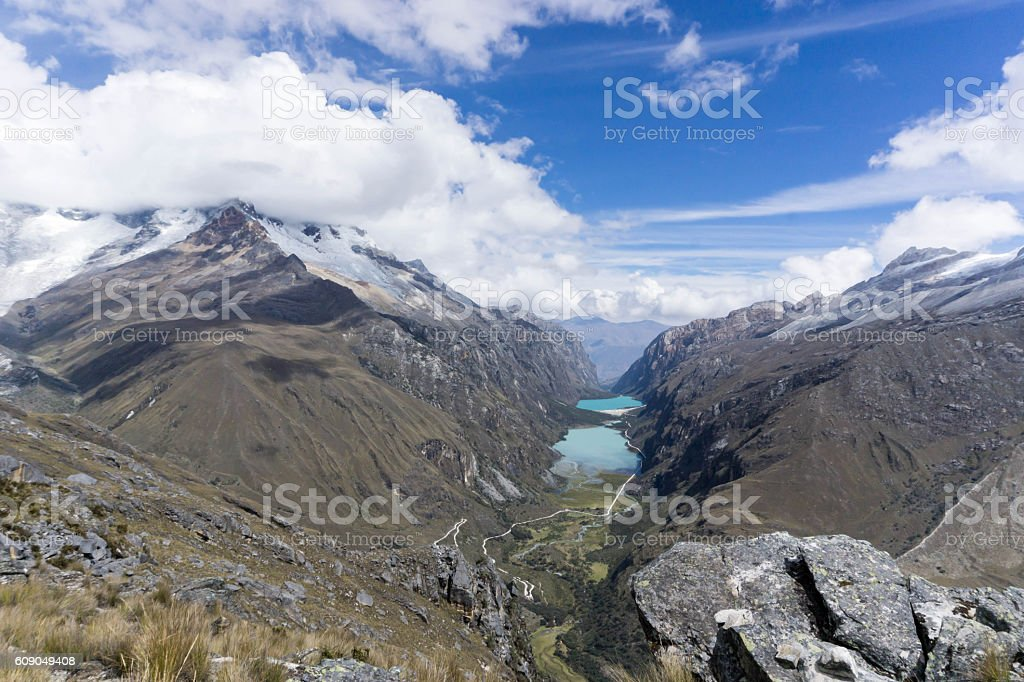 Llanganuco Valley in Peru stock photo