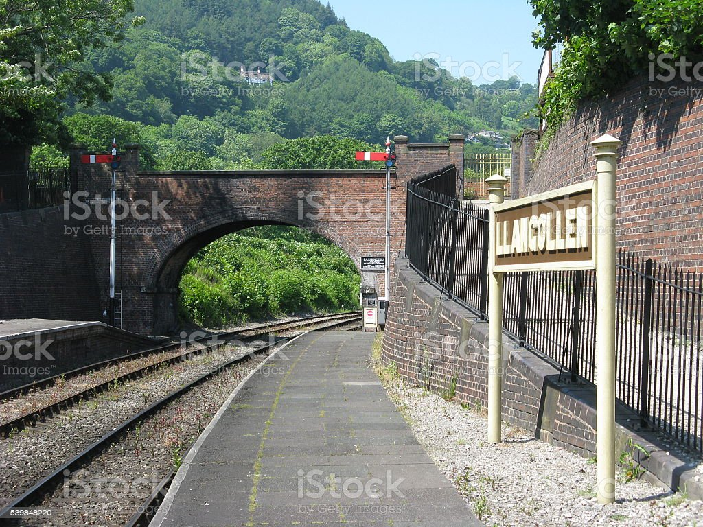 Llangollen Station Sign and Bridge stock photo