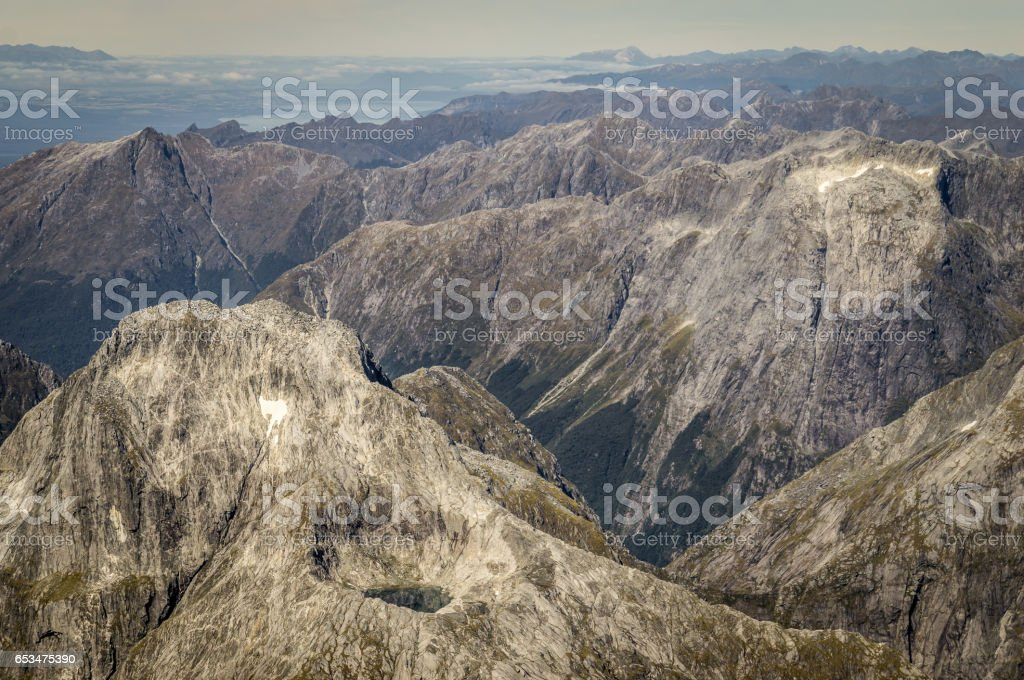 Llawrenny Peaks at Milford Sound, New Zealand stock photo