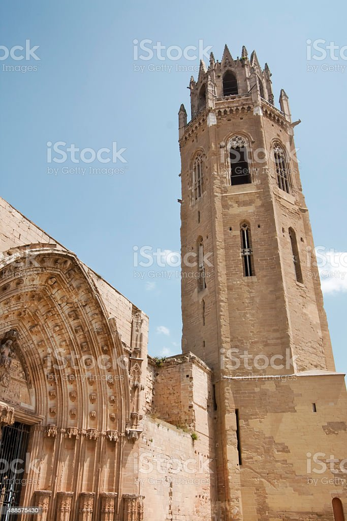 Lleida cathedral, portico and bell tower. stock photo