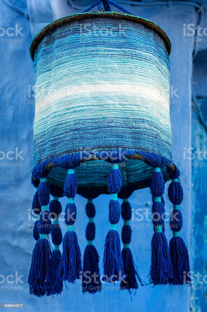 Llight wool  blue Chefchaouen,street,Morocco,North Africa stock photo