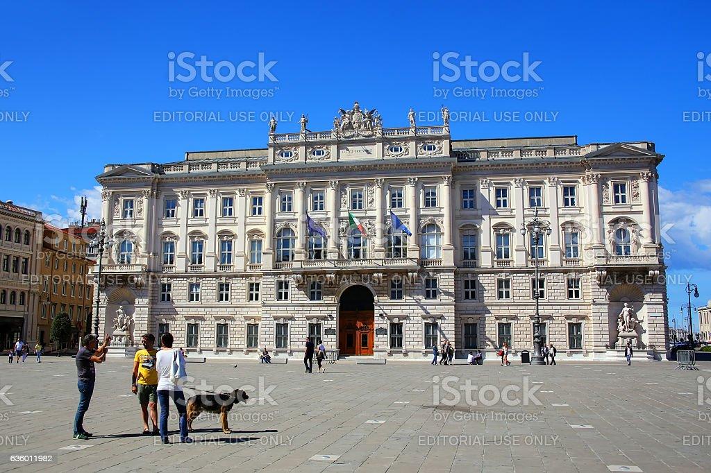 Palazzo del Lloyd Triestino on Piazza Unita d'Italia in Trieste, stock photo