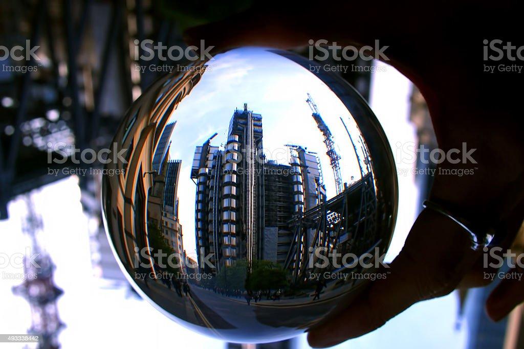 Lloyds building through a crystal ball stock photo