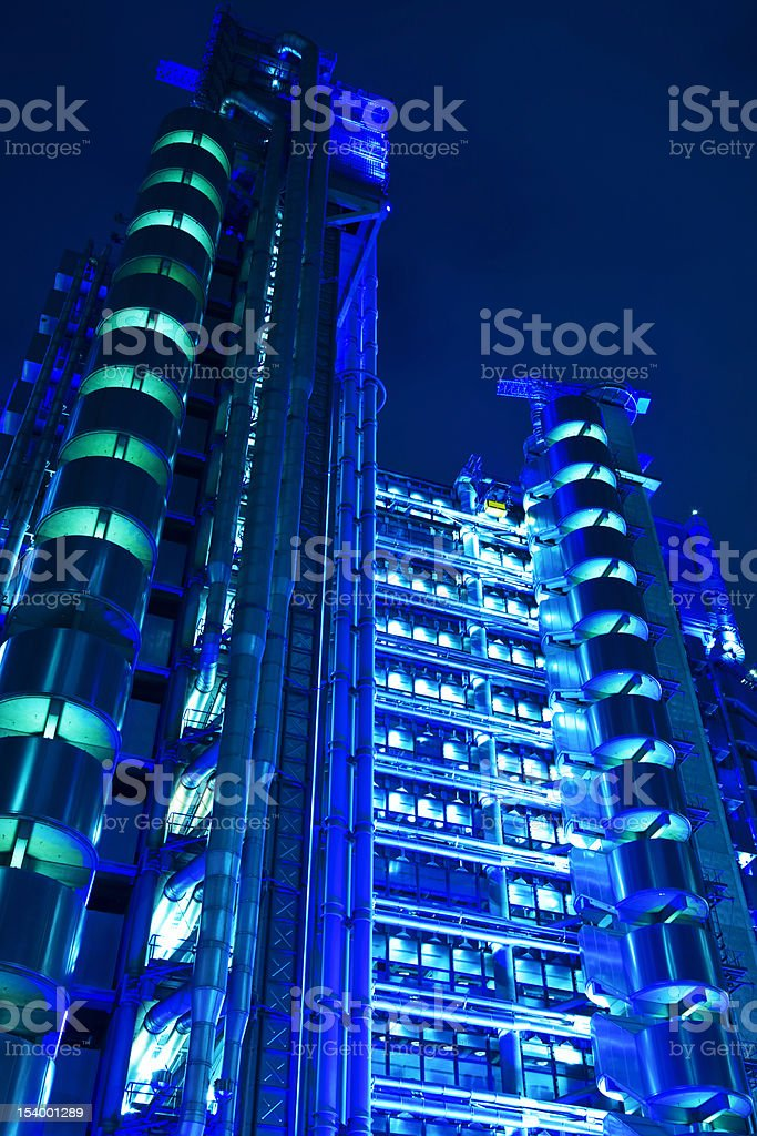 Lloyd's of London, Futuristic Office Tower at Night royalty-free stock photo