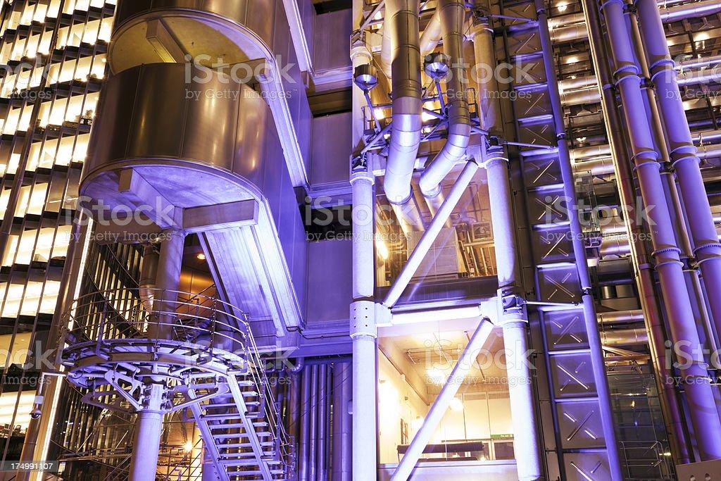 Lloyd's of London, Illuminated Futuristic Business Buildings at Night, England royalty-free stock photo