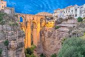 lluminated Puente Nuevo bridge in Ronda