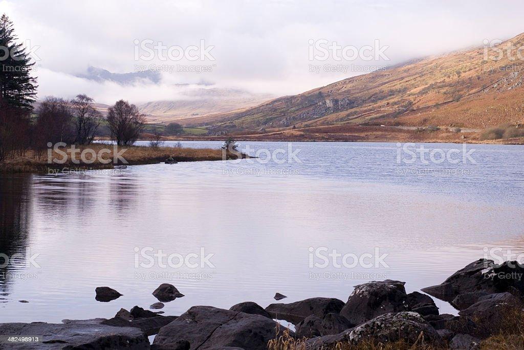 Llynnau Mymbyr Lakes, Capel Curig, Wales, UK stock photo
