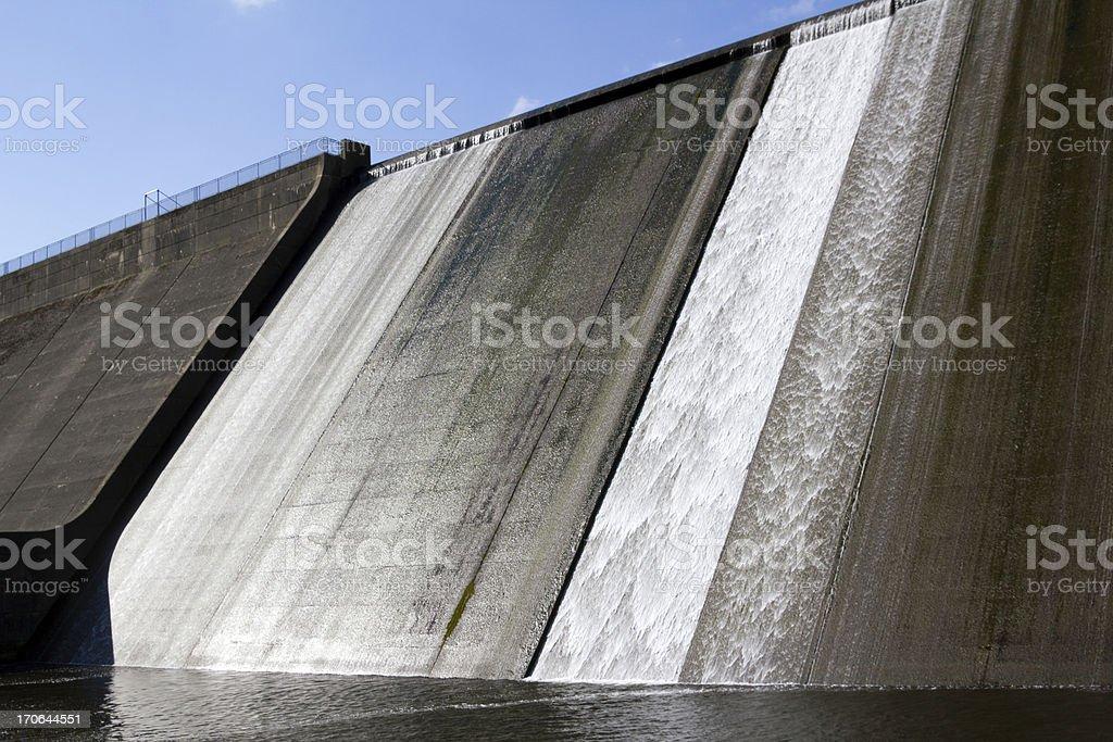 Llys y Fran Reservoir Dam overflow stock photo