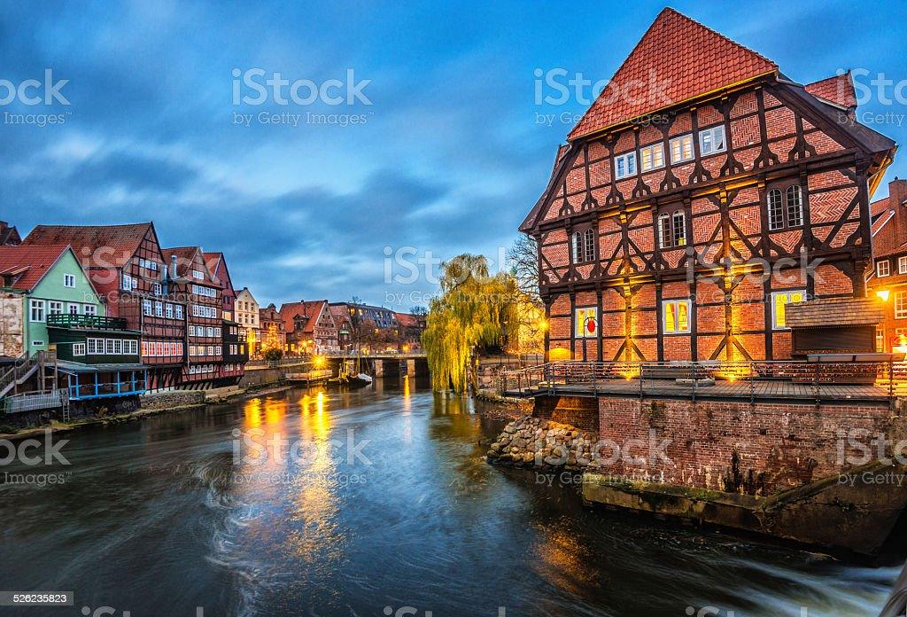 Lüneburg Alter Hafen - Luneberg Old Harbour and Fish Market stock photo