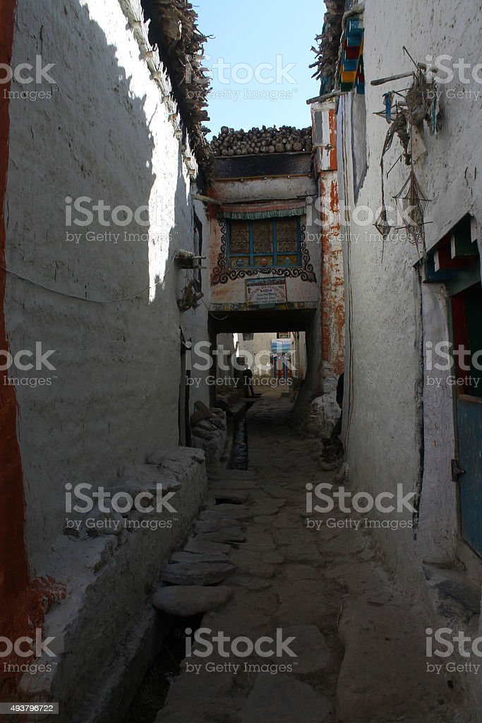 Lo Manthang Street stock photo