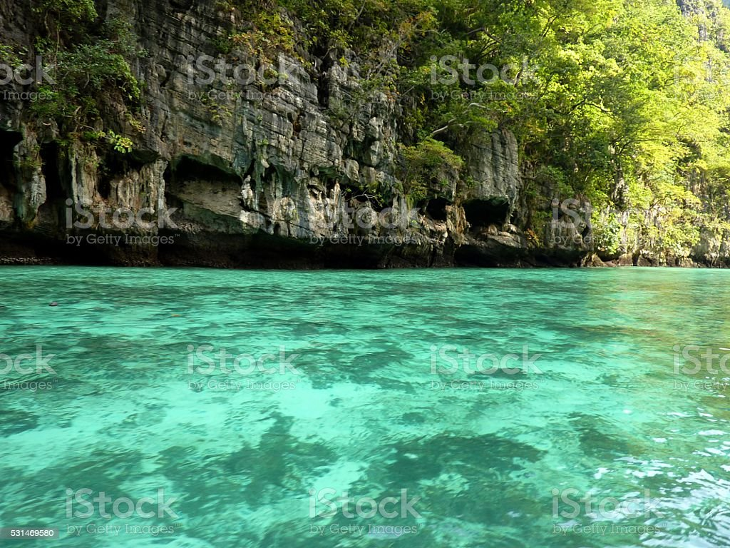 Lo Samah Bay, PhiPhi Leh island, Thailand stock photo