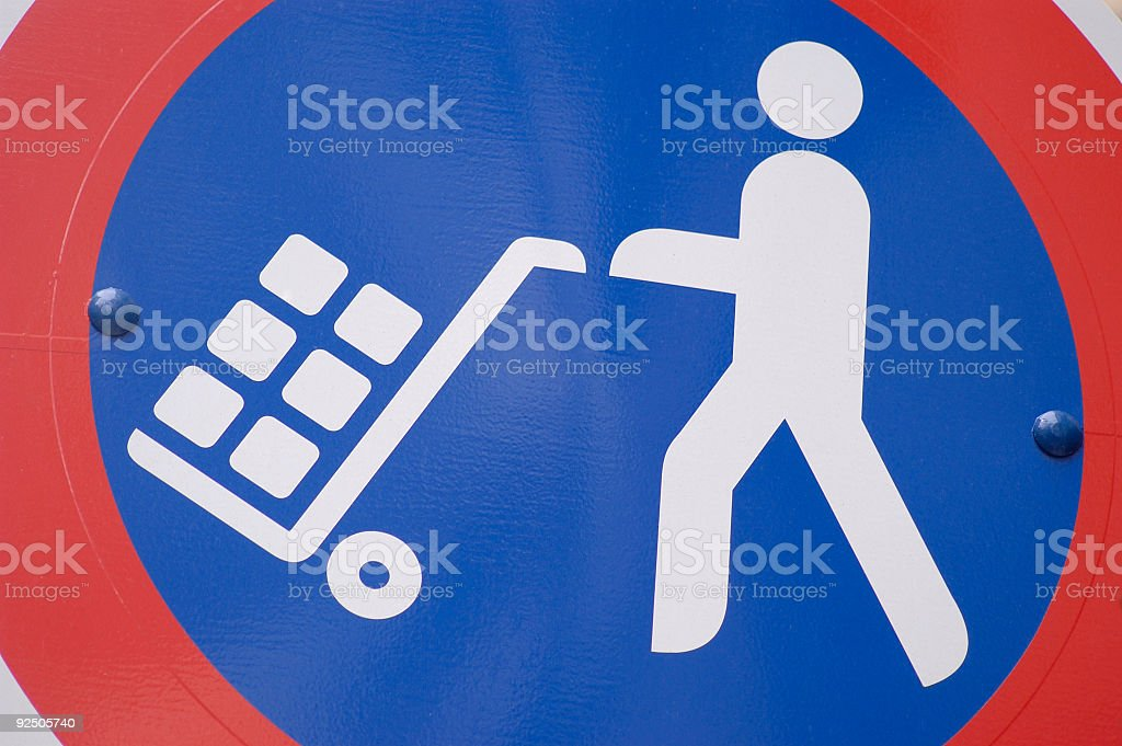 Load and unload traffic sign stock photo