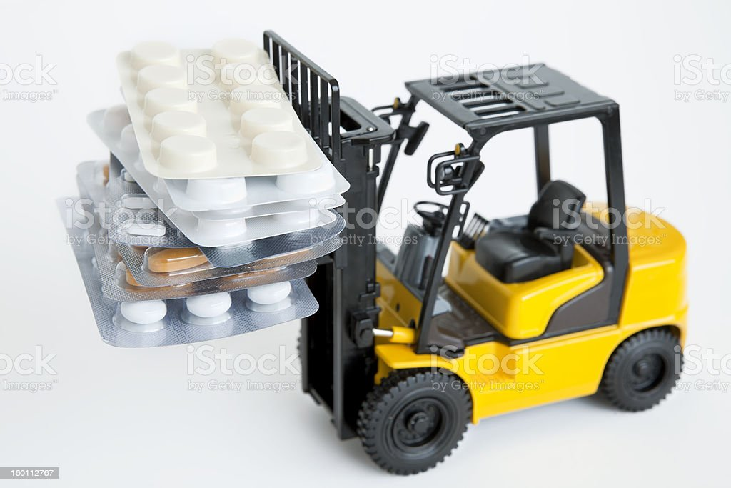 load of pills on a forklift royalty-free stock photo