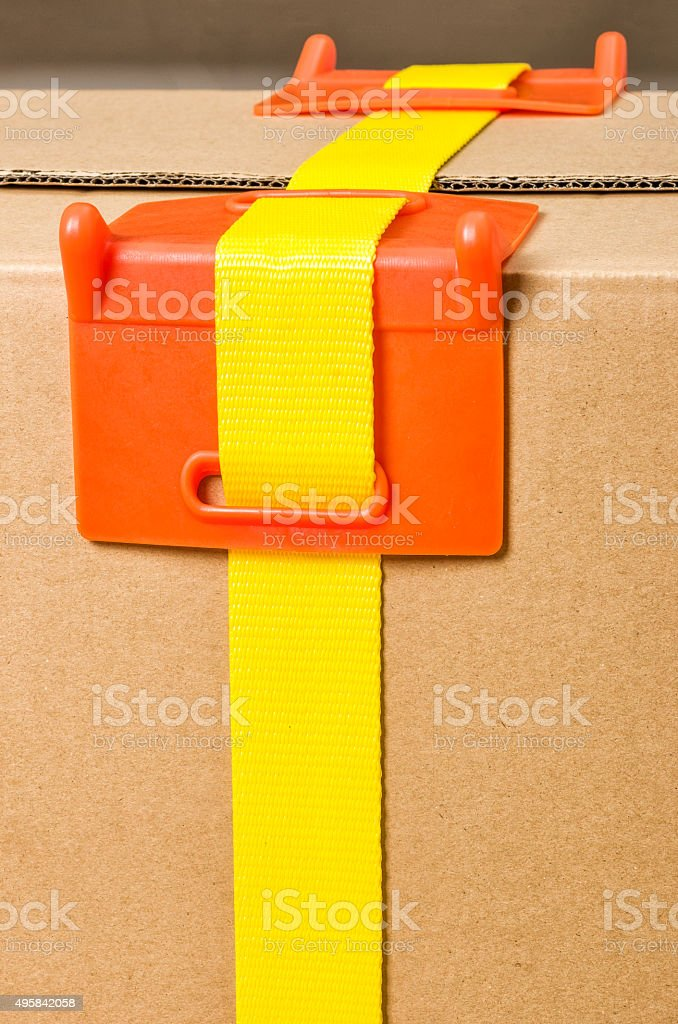 Load securing -  Corner protection stock photo