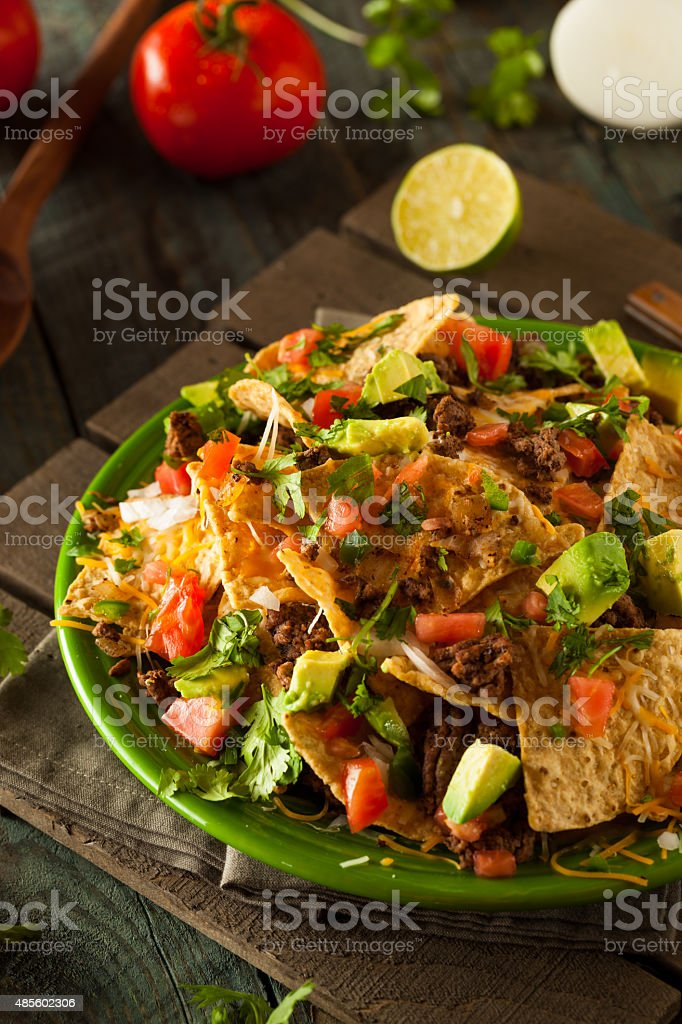 Loaded Beef and Cheese Nachos stock photo
