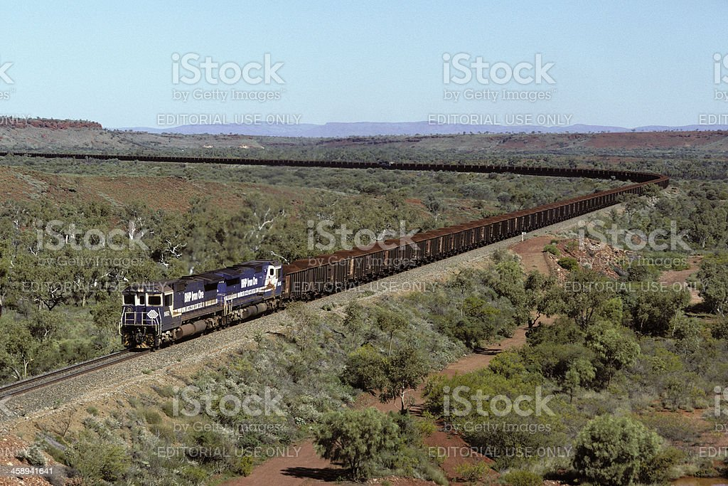 Loaded BHP iron ore train heads to Port Hedland stock photo