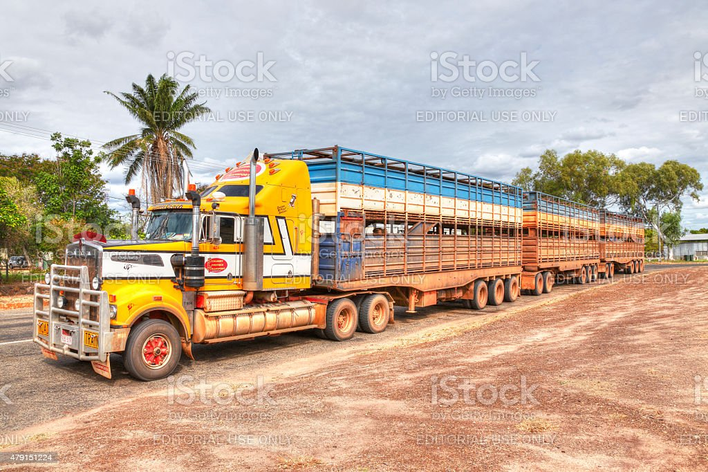 "Loaded cattle road train ""Cattle Coach"" in outback town stock photo"