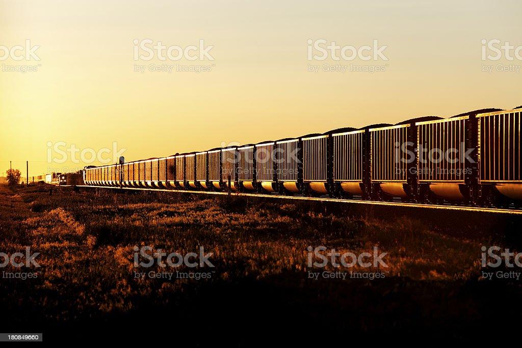 Loaded coal train on the tracks stock photo