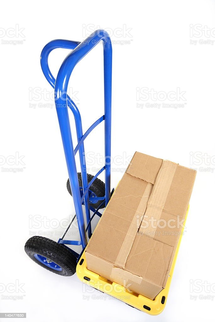 Loaded handtruck ready for moving royalty-free stock photo
