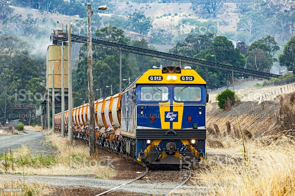 Loaded Hanson stone train waiting to depart Kilmore quarry stock photo