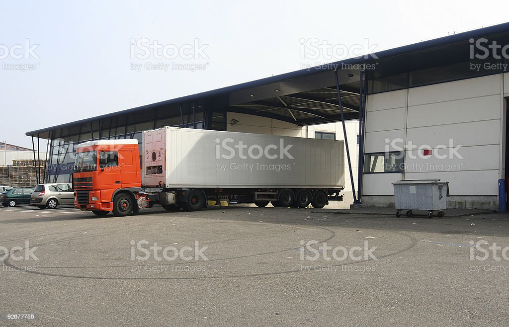 Loaded Truck leaving Factory royalty-free stock photo