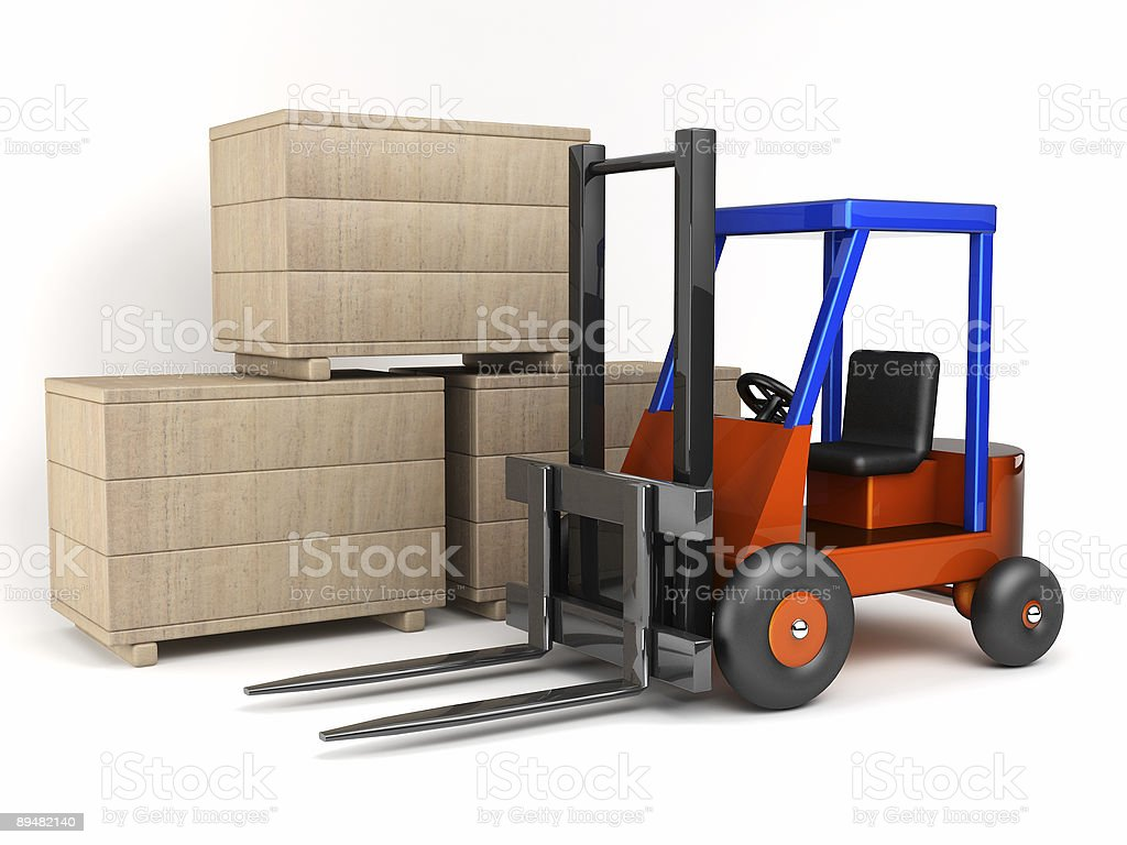 loader and boxes royalty-free stock photo