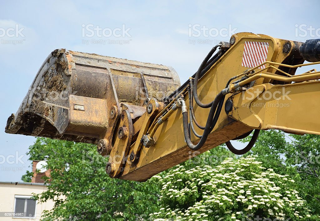 Loader of the excavator stock photo