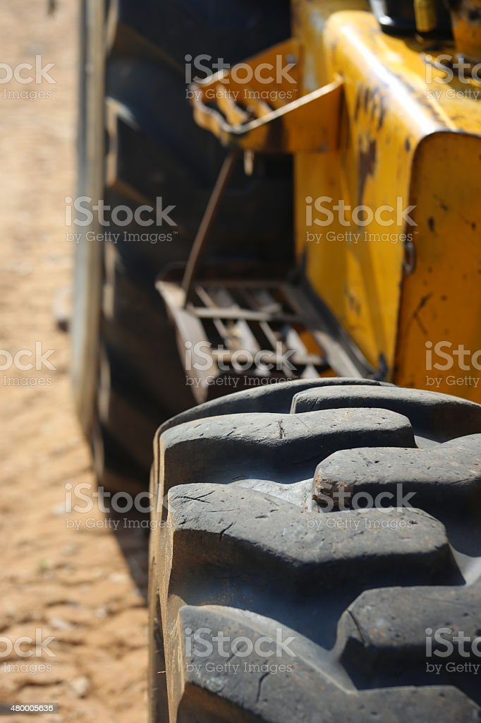 Loader tire. Close up. stock photo