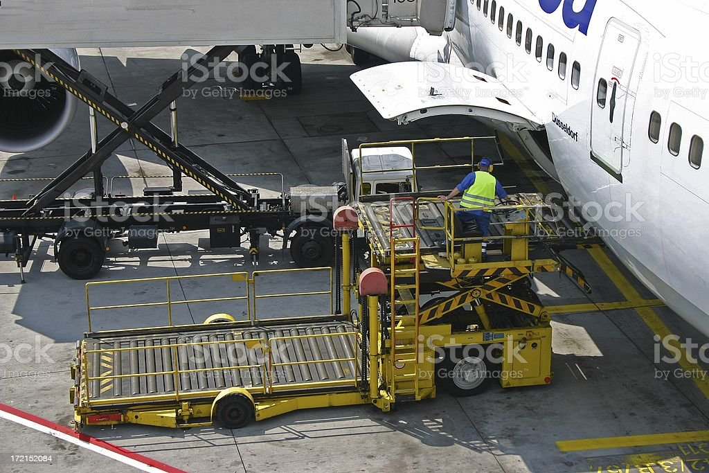 Loading a Boeing 747 royalty-free stock photo