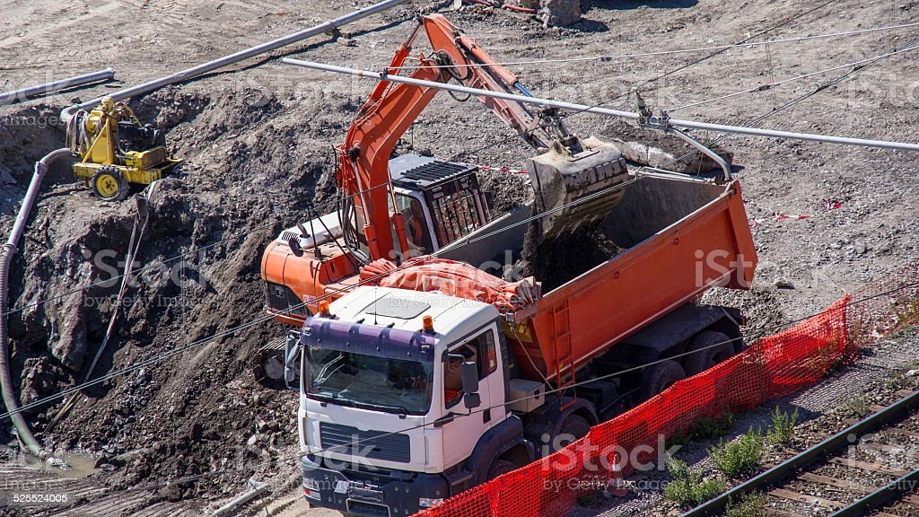 loading a large lorry building material royalty-free stock photo