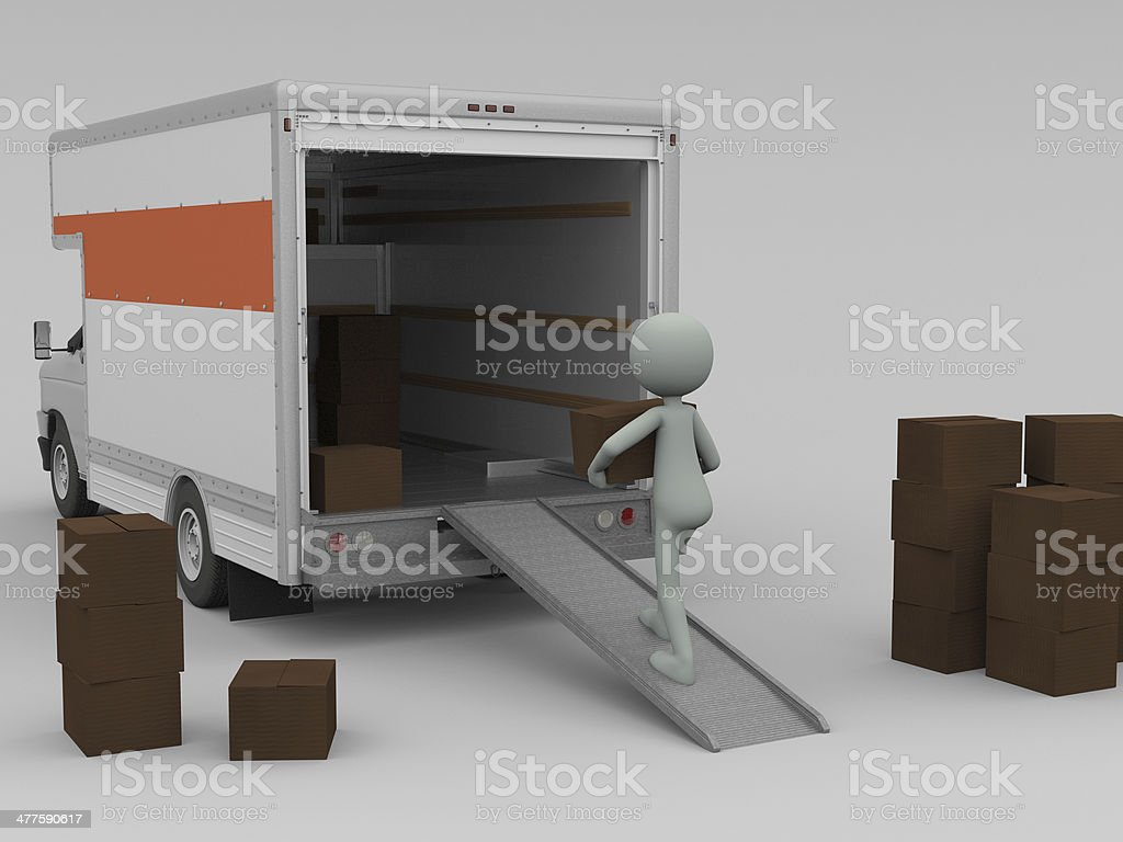 Loading a Moving Truck royalty-free stock photo