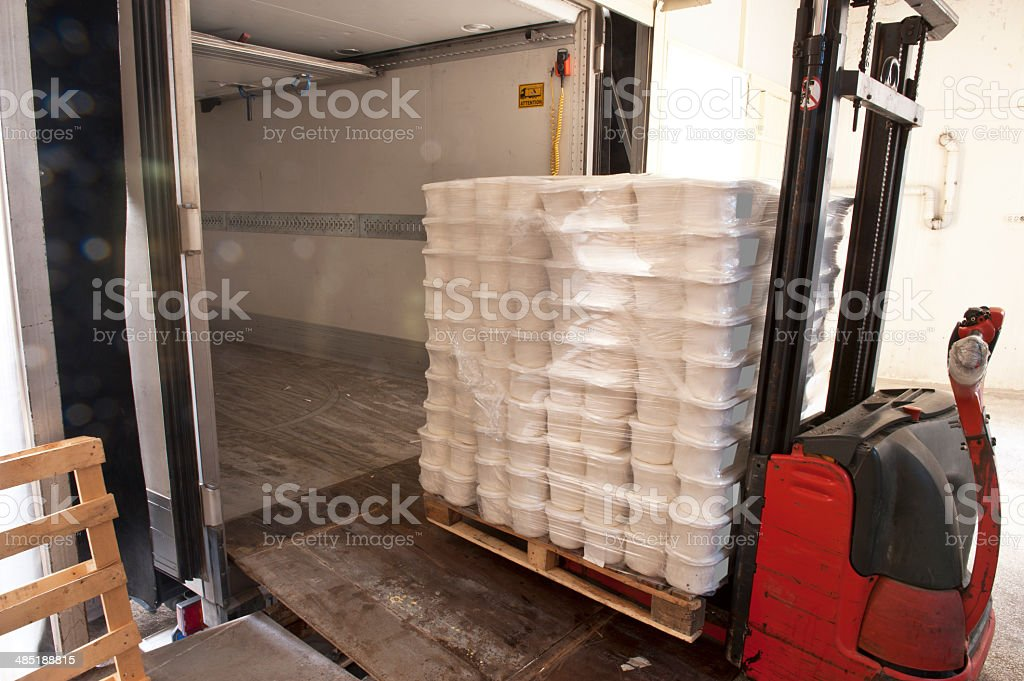Loading a truck stock photo