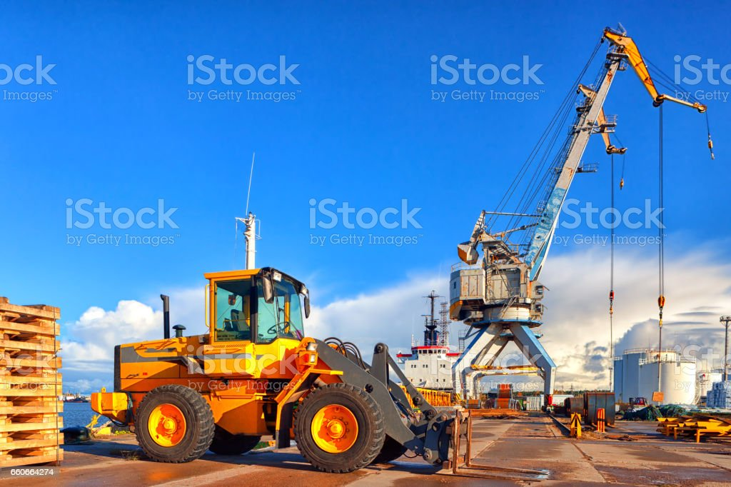 Loading and unloading in the port stock photo