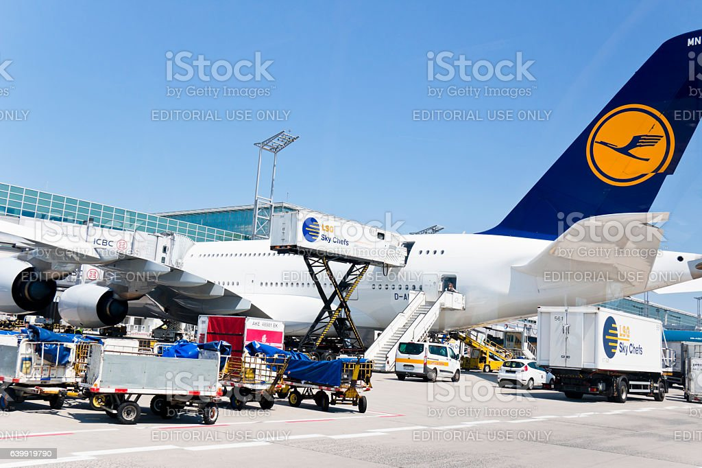 Loading and unloading of an Airbus A380-800 of the Lufthansa Airline stock photo