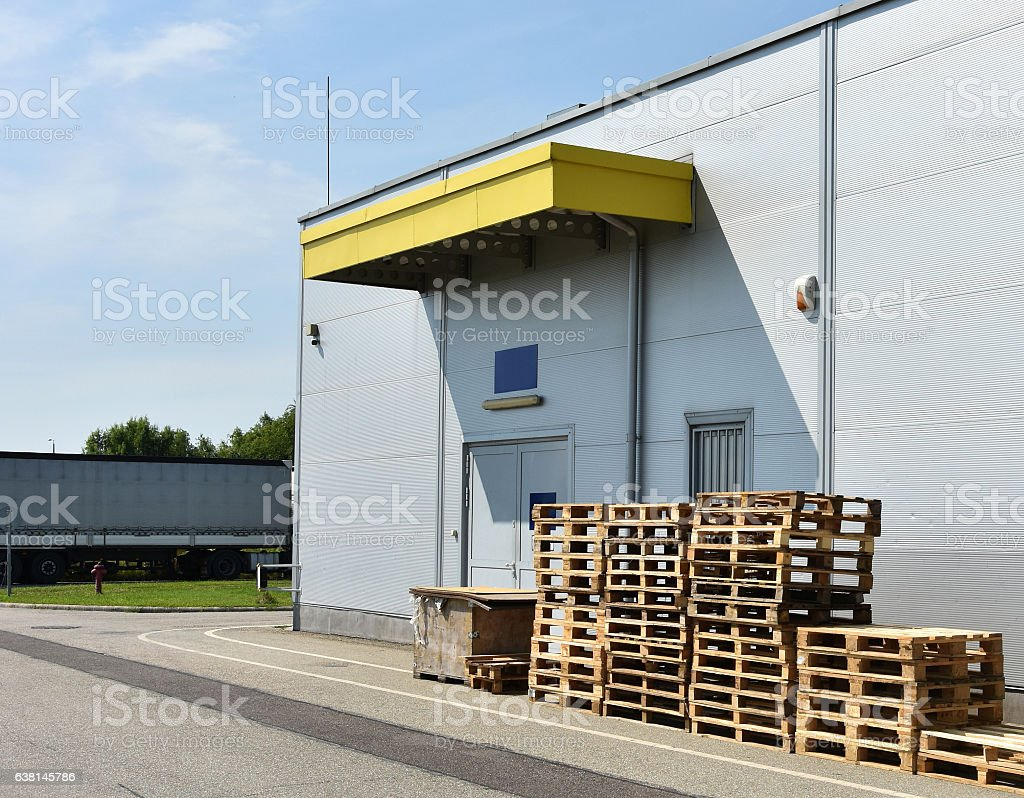 Loading area of a warehouse building stock photo
